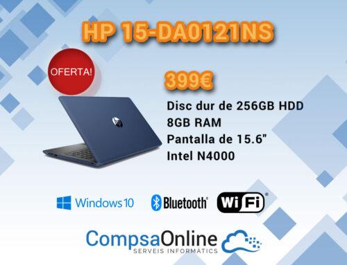 Portàtil HP model 15-DA0121NS (15,6», Intel Celeron N4000 1,1GHz 2 nuclis, 8GB RAM DDR4, HDD 256GB)