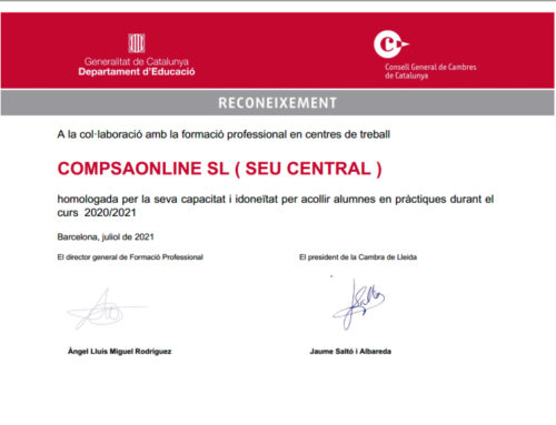 Compsaonline, rep el reconeixement i l'homologació de la Generalitat de Catalunya i el departament d'educació, com a centre formatiu per alumnes en practiques.