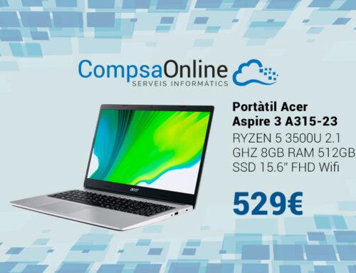 Portàtil Acer Ryzen 5, amb 512GB de SSD