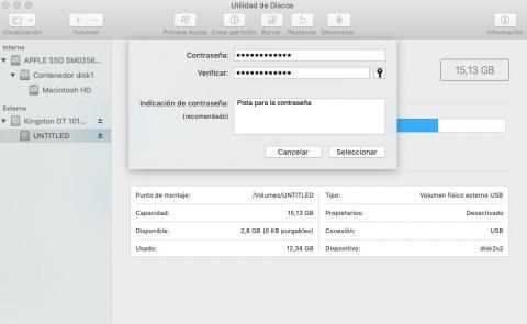Cifrar disco o memoria externa en Mac